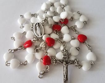 Handmade Catholic Rosary with White and Red Glass Heart Beads
