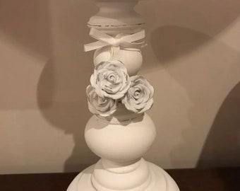 White pillar candle holder