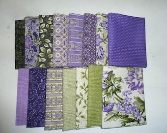 Country Manor Purple/Green Colorstory Fat Quarter Bundle by Darlene Zimmerman's fabric shop. Robert Kaufman fabric, 15 fat quarters
