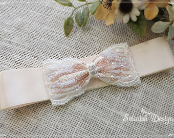 Sale) Cream Ivory Bow Sash, Wedding Sash Belt, Vintage style Sash Belt, Beaded Sash Belt, Bridal Sash