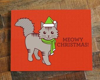 "Cute Christmas Card ""Meowy Christmas"" - Funny Christmas Pun Card, Cat Lover Christmas, Cat Holiday Card, Cat Christmas card, Cute cat card"