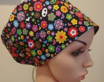 Women's Surgical Cap, Scrub Hat, Chemo Cap, Skelanimal Flower Love