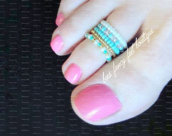 Toe Rings, Stacking Rings, Turquoise Toe Rings, Gold Toe Rings, Stretch Bead Toe Rings