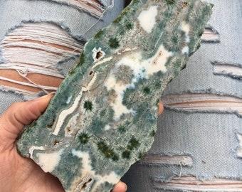 Rare Flower Ocean jasper slab with flower orbs, ocean jasper, ocean jasper crystal
