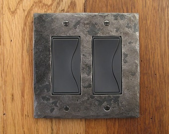 Iron Hammer Textured Double Rocker/Decora Wall Plate