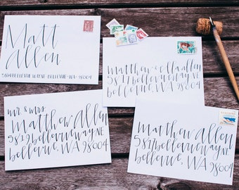 Modern calligraphy envelope addressing wedding envelope