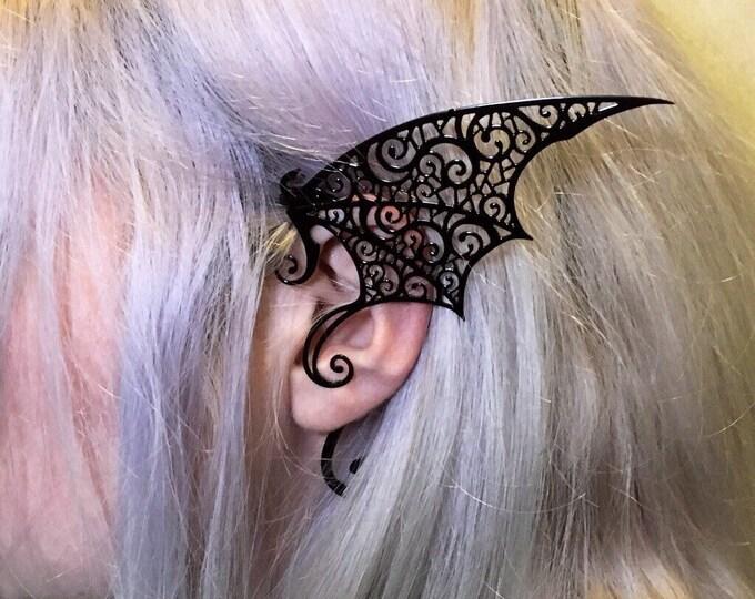 Tote ear Earrings, Metal Filigree Jewelery , handmade in italy nickel free _ vampire shape