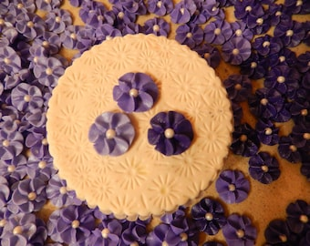 100 Purple Royal Icing Drop Flowers Edible for cupcakes, cakes, cookies,cakepops