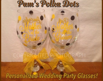 2 Personalized BRIDAL PARTY Wine GLASSES for Bride To Be Bridesmaid Mother of the Bride and Groom Wedding Shower Bachelorette Party Luncheon