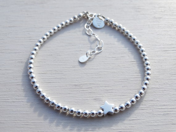 Silver Bead & Star Bracelet, Sterling Silver