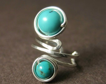 Ear Cuff Sterling Silver and Turquoise Wire Wrapped -- Shepherd Moon
