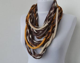 Knit Scarf Necklace, Multi strand necklace, Loop scarflette, Infinity scarf, Knitted scarflette, in ivory, ochre, taupe, brown E149
