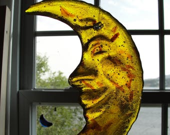 Thick Fused Glass Moon