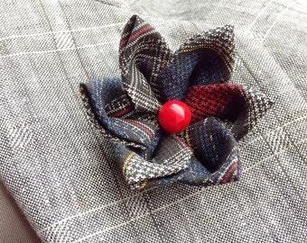 Custom Lapel Pins Mens Lapel Pin Flower Lapel Pin Lapel Flower Red White Blue Silk Boutonniere Kanzashi Brooch Groomsman Gift For Him