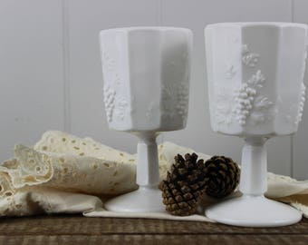 Westmoreland Paneled Grape Milk Glass Goblet Set of 2