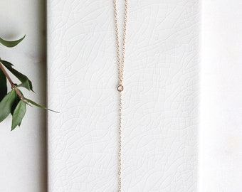 Dainty Lariat Gold Necklace | Crystal Leaf Lariat