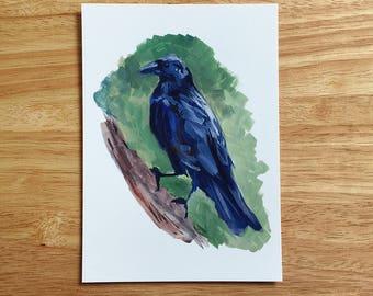 Gouache Raven Bird - Art Print Color