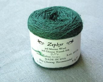 Bottle Green 2/18 Zephyr Wool/Silk Yarn