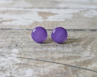 Purple stud earrings, Purple gifts for her, Tiny earrings purple, Purple earrings minimalist, Purple jewelry simple, Cute studs everyday