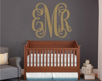 Monogram Wall Decals Etsy - Monogram wall decals for nursery