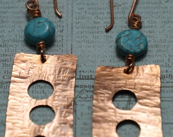 Copper Sheet with 3 Circle Cut-Outs and Round Magnesite Earrings