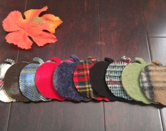 Set of 10 Felted Wool Pumpkins for Garland or Applique, Recycled