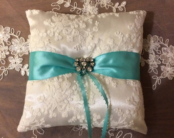 Ring bearer pillow with rhinestone accents. Beach wedding. Destination wedding. Turquoise/blue accent wedding,