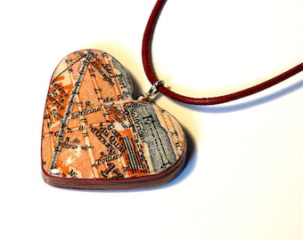 Heart Pendant Paris 1923 gare dOrsay city Map Vintage travel guide Paper layers recycled Urban style gifts for travelers