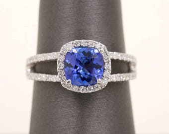 14k White Gold Engagement Ring 0.42Ct High Quality Diamond. 7mm AAA Cushion Tanzanite Engagement Ring.Diamond Engagement Ring.Diamond  Ring