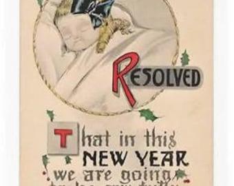 RESOLVED, Vintage COMIC New Year Postcard,Sweet Little Girl Asleep, c1910