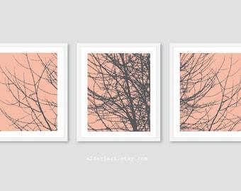 Moderne arbre Branches estampes - Branches art mural - arbre art mural - pêche et gris art arbre - Woodland Art - arbre triptyque - couleur personnalisée