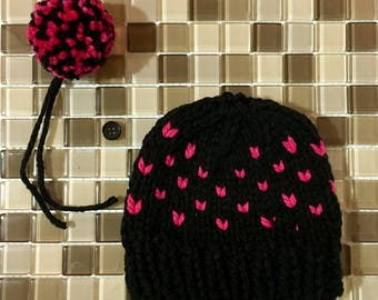 0-3 month knit hat, Fair Isle, Black, Pink, Baby Girl, Pompom, Detachable Pompom, Hearts