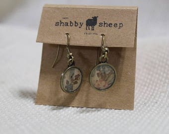 Shabby Style dangly earrings- rustic floral