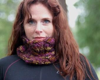 Hand Knit Neck-Warmer/Headband in Plum-Gold