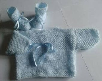 Jacket and booties - baby set - size newborn-1 month