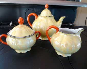 Yellow Lustreware Teapot, Creamer and Sugar Bowl, Germany
