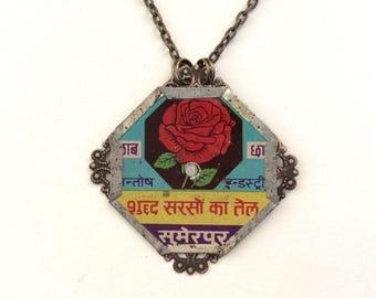 Upcycled Tin Necklace, Red Rose of India, Diamond Shape