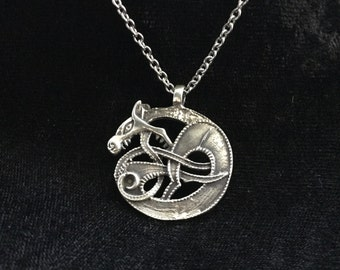 Large Handcast Double Sided 925 Sterling Silver Celtic Norse Ouroboros Dragon Pendant + Free Chain
