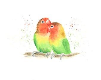 love birds print, bird print, love birds art, parrot print, love birds wall art, animal print, tropical decor, tropical print, bird art,