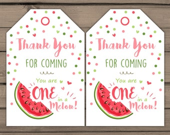 Watermelon Thank You Card Watermelon Birthday Party Thank You