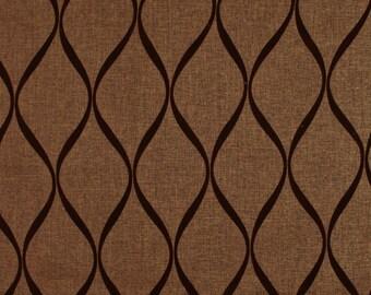 Chocolate Brown Flocked Fabric Natura
