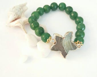 beaded bracelet with green agate