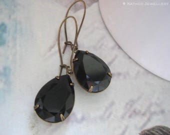 Ella - Estate Style Black Crystal Earrings - Created with Jet crystals and Pearls from Swarovski® Victorian Styled drops - Holiday Gifts