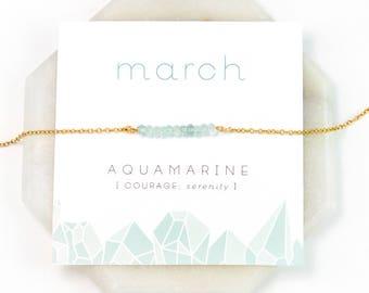 March Birthstone Necklace - Inspirational Aquamarine Crystal Bar Necklace, Healing Gemstone Gift, Dainty Necklace, Birthday Present