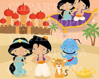 Princesa del Desierto Digital Clipart / Princesa Jasmine Para uso Personal y Comercial