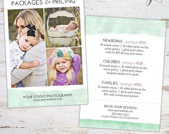 Photography Packages and Pricing Guide - Price List Marketing Template - INSTANT DOWNLOAD
