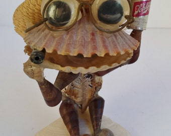 Kitsch Shell Sculpture of Glasses Wearing Frog w Cigarette and Can of Schlitz
