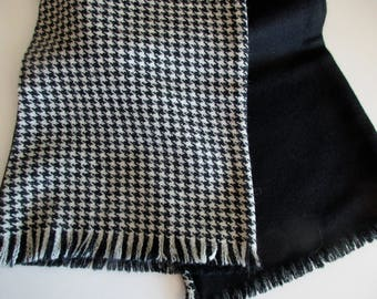vintage black and white wool houndstooth scarf - warm, winter