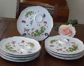 NINE Vintage Ardalt Lenwile Plates Strawberry Ladybug China Japan Midcentury Lunch Snack Strawberry Butterfly & Ladybug plate   Etsy