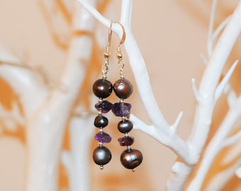 Pearl and Amethyst Earrings on Silver